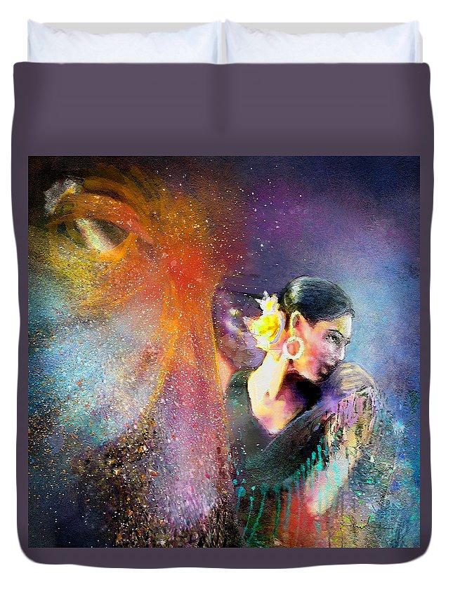 Flamenco Duvet Cover featuring the painting Flamencoscape 04 by Miki De Goodaboom