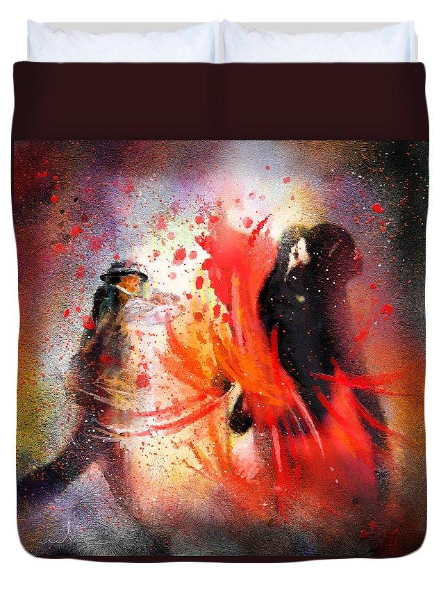 Flamenco Dance Duvet Cover featuring the painting Flamencoscape 07 by Miki De Goodaboom