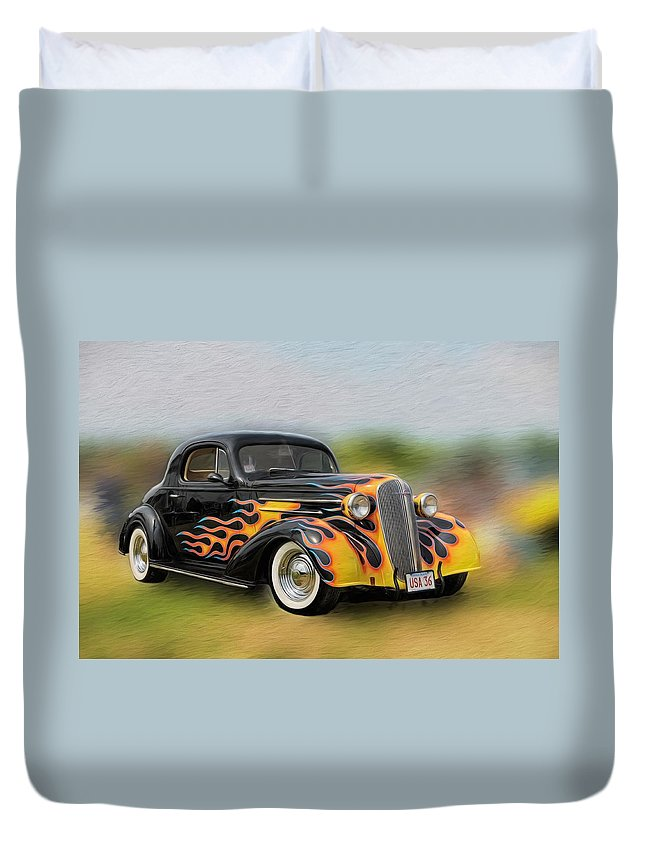 Antique Car Duvet Cover featuring the photograph Flames On Wheels by Liz Mackney