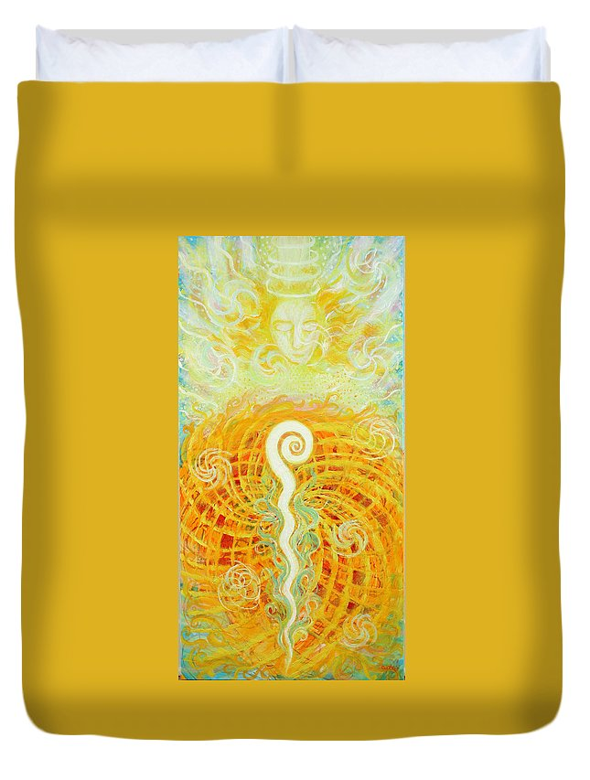 Religious Duvet Cover featuring the painting Flaming Sword by Anne Cameron Cutri