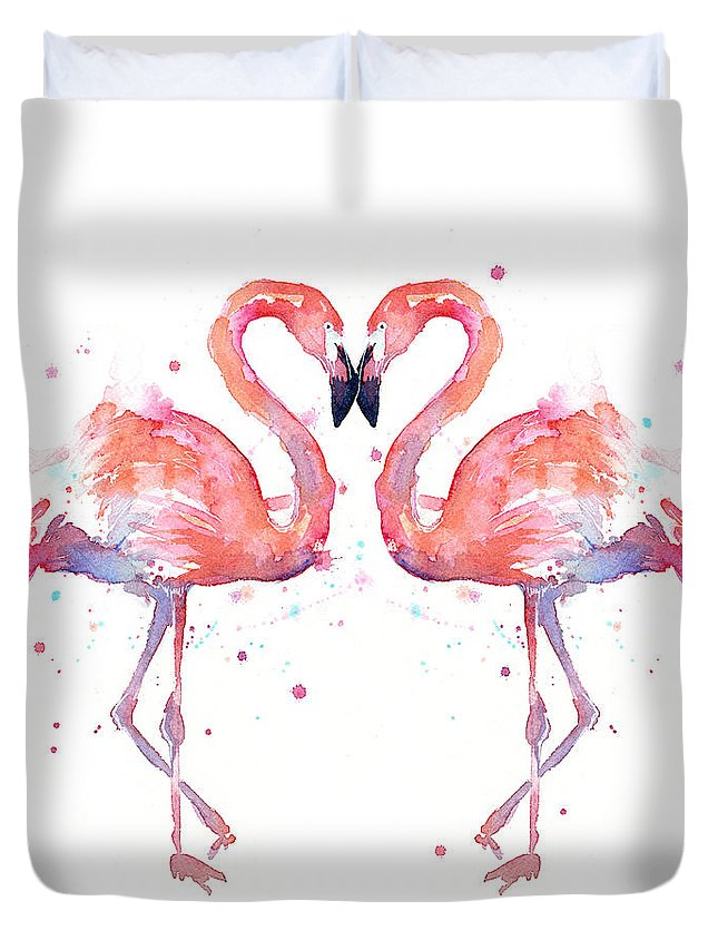 Watercolor Duvet Cover featuring the painting Flamingo Love Watercolor by Olga Shvartsur