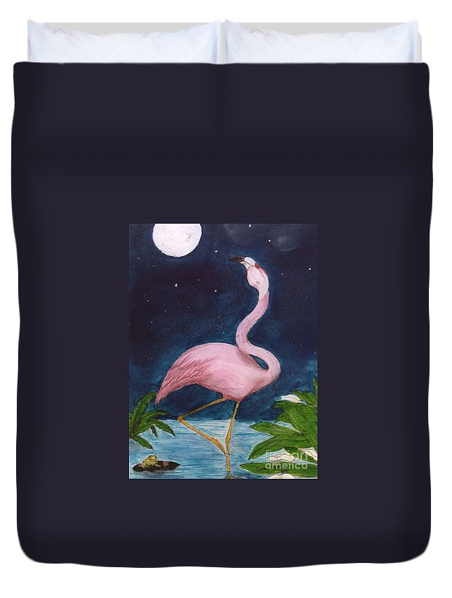 Pink Duvet Cover featuring the painting Flamingo Moon Frog Cathy Peek Tropical Bird by Cathy Peek