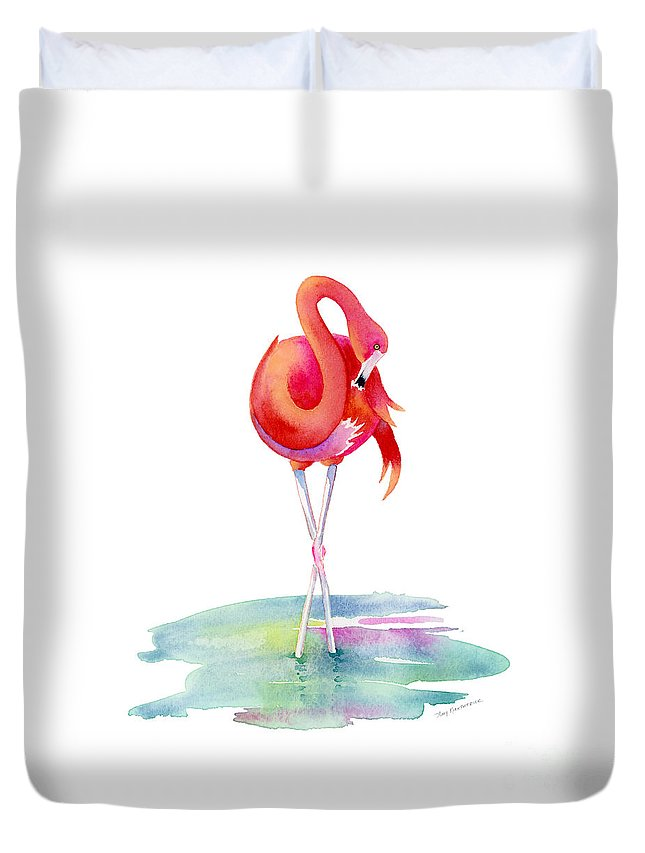 Flamingo Duvet Cover featuring the painting Flamingo Primp by Amy Kirkpatrick