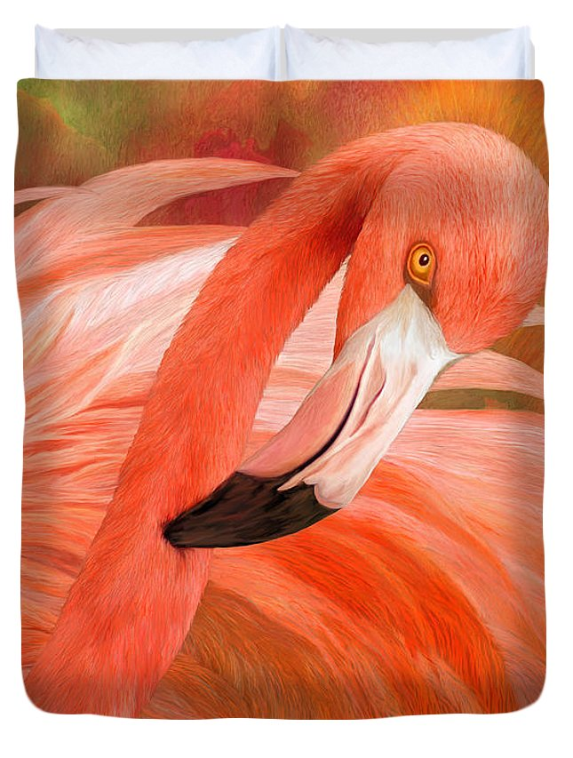 Flamingo Duvet Cover featuring the mixed media Flamingo - Spirit Of Balance by Carol Cavalaris