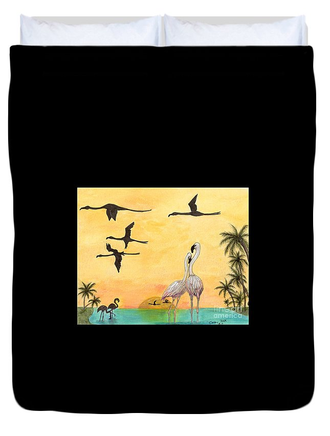 Flamingo Duvet Cover featuring the painting Flamingo Sunset Silhouette Cathy Peek Tropical Birds by Cathy Peek