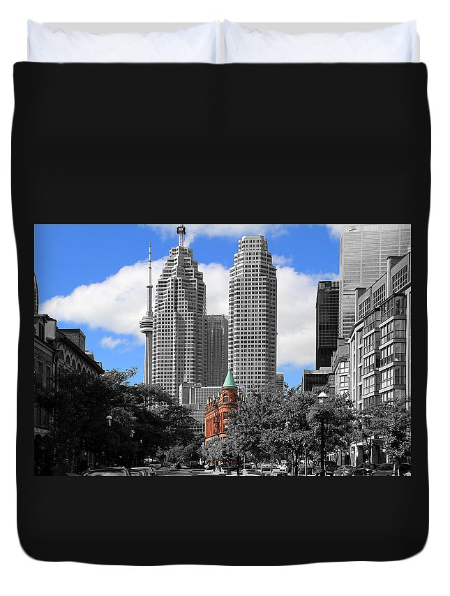 Toronto Duvet Cover featuring the photograph Flatiron Building Toronto 2c by Andrew Fare