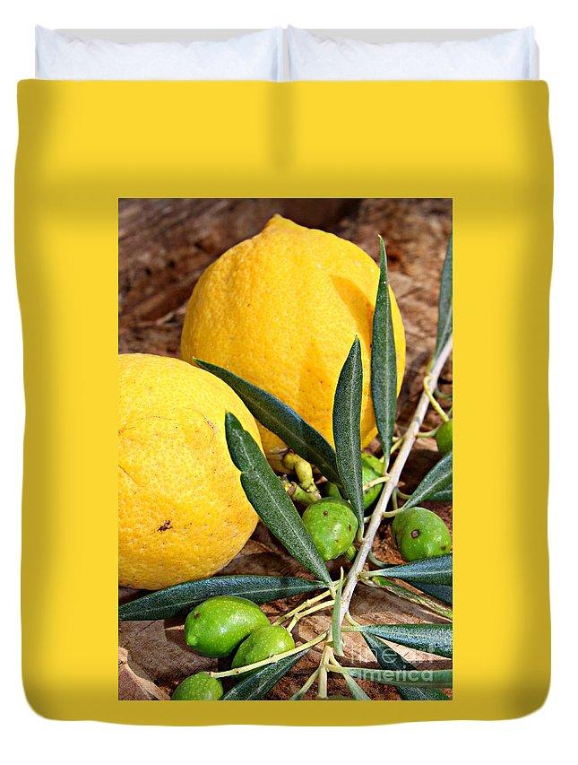 Lemon Duvet Cover featuring the photograph Flavours by Clare Bevan