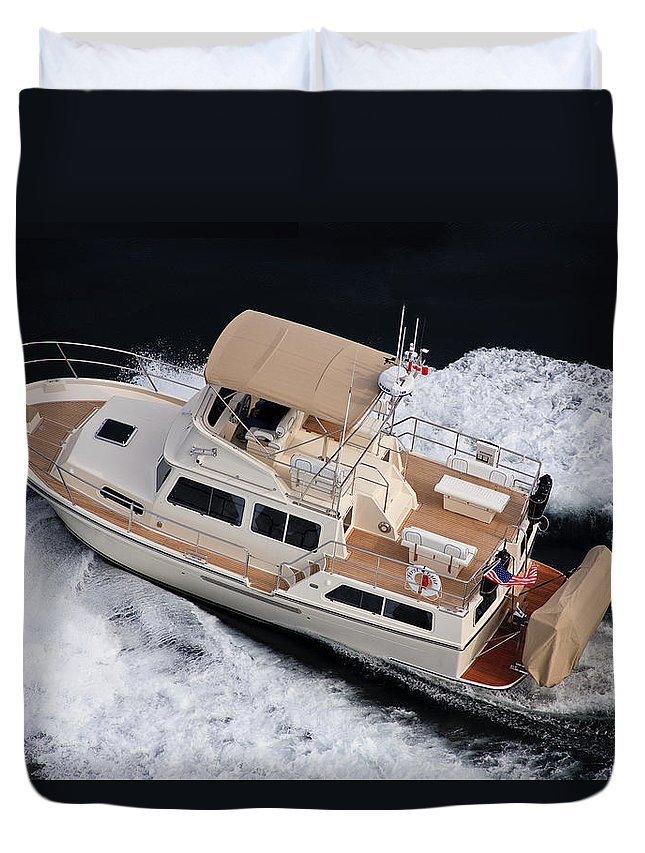 Fleming Duvet Cover featuring the photograph Fleming Corvette Boat by Mike Penney