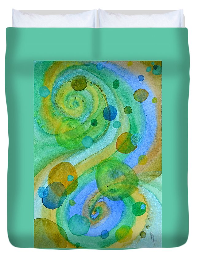 Abstract Duvet Cover featuring the painting Flight 319 by Beverley Harper Tinsley