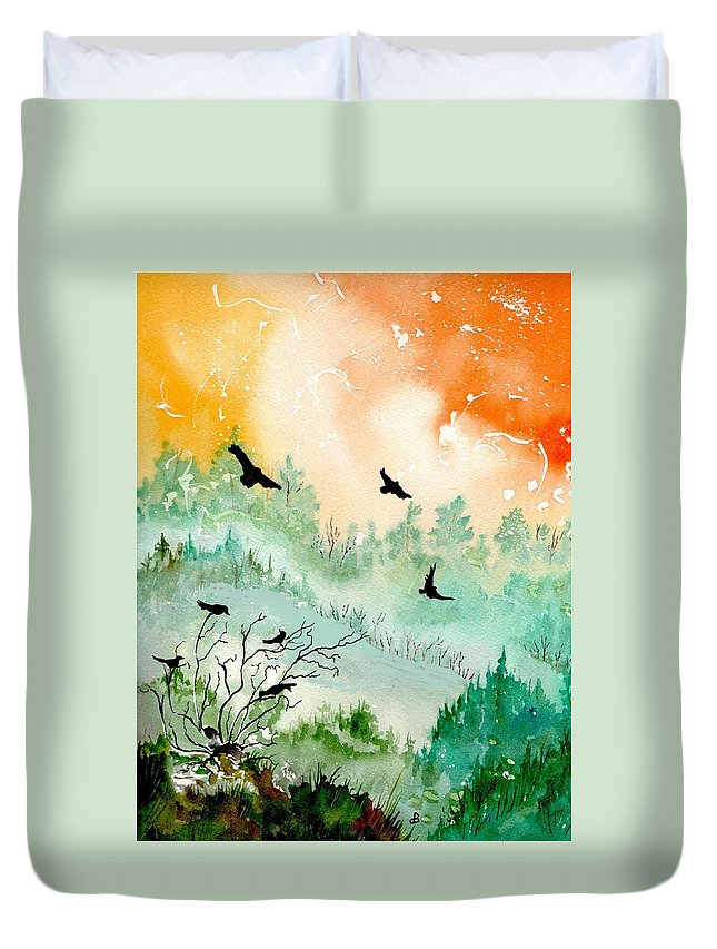 Watercolor Duvet Cover featuring the painting Flight by Brenda Owen