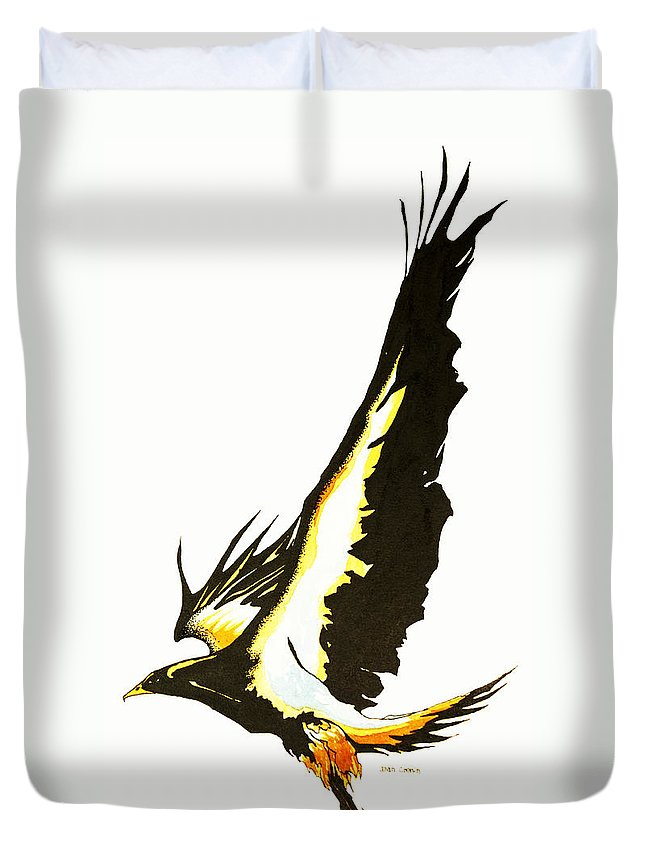 Bird Duvet Cover featuring the drawing Flight by Daniel P Cronin