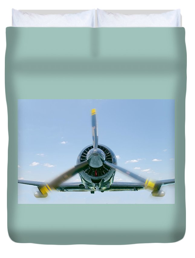 Airplane Duvet Cover featuring the photograph Flight In Color by Rudy Umans
