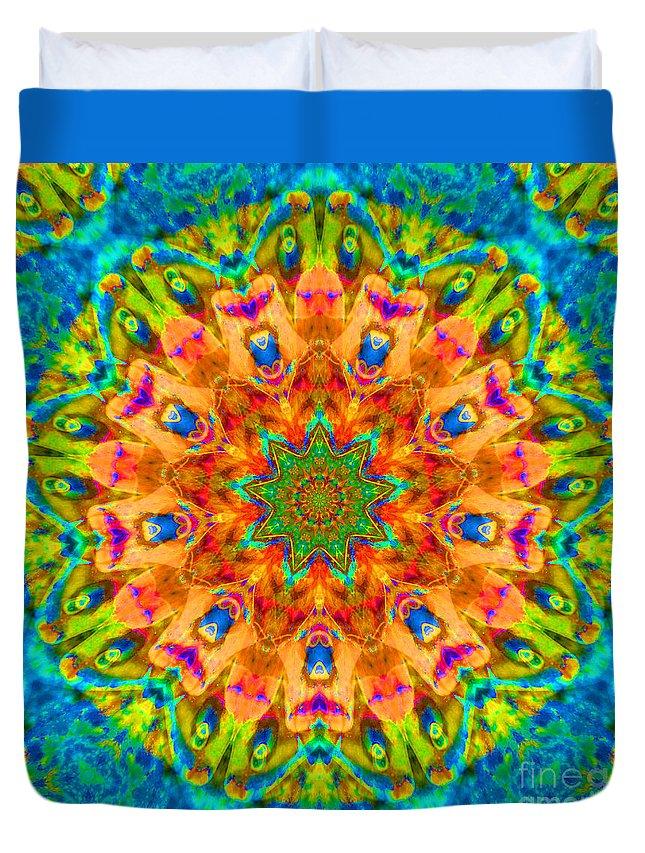 Rainbow Duvet Cover featuring the photograph Flight Mandala by Susan Bloom
