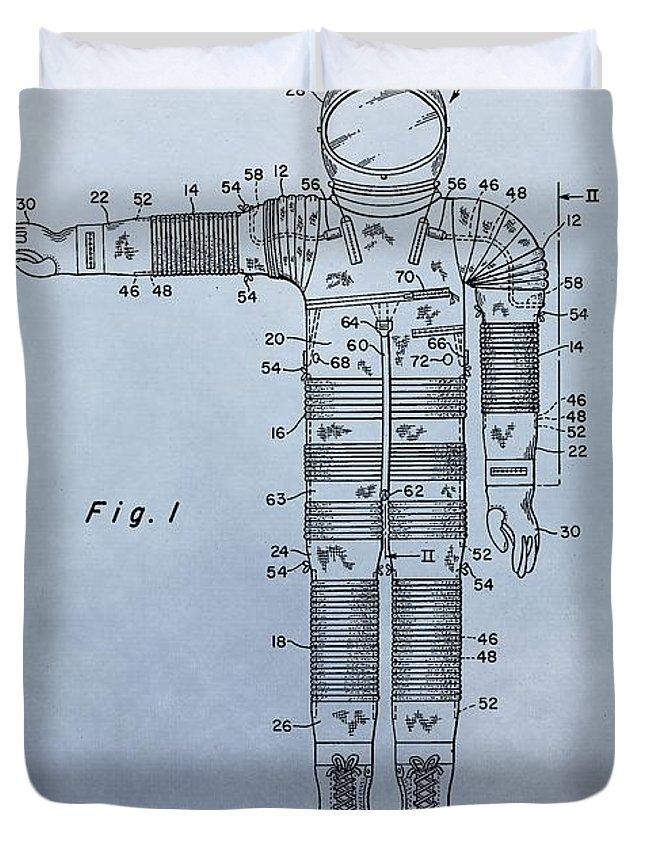 Flight Suit Patent Duvet Cover featuring the digital art Flight Suit Patent by Dan Sproul