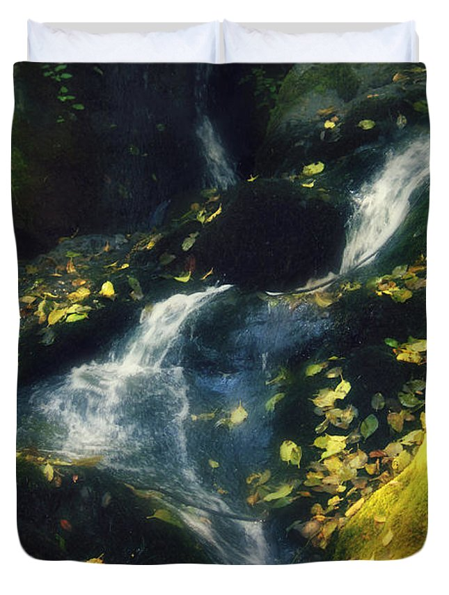 Waterfalls Duvet Cover featuring the photograph Floating Leaves by Melanie Lankford Photography