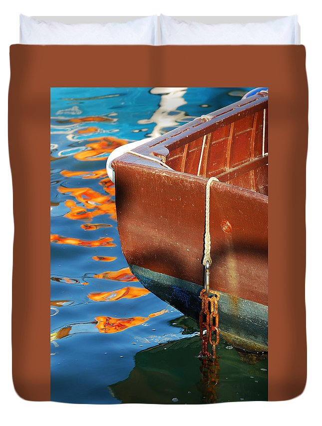 Boat Duvet Cover featuring the photograph Floating On Blue 11 by Wendy Wilton