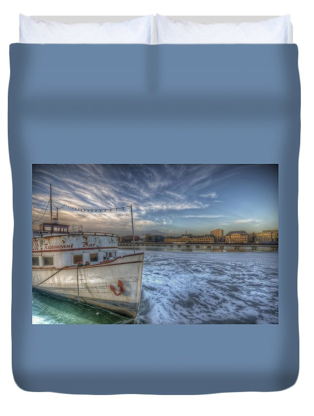 Architecture Duvet Cover featuring the digital art Floating Restaurant by Nathan Wright
