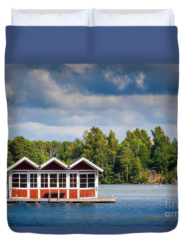 Europa Duvet Cover featuring the photograph Floating Shacks by Inge Johnsson