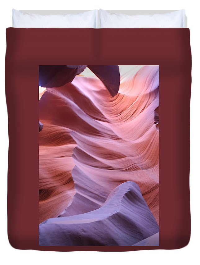 Narrow Canyon Duvet Cover featuring the photograph Floating Stone by Christiane Schulze Art And Photography