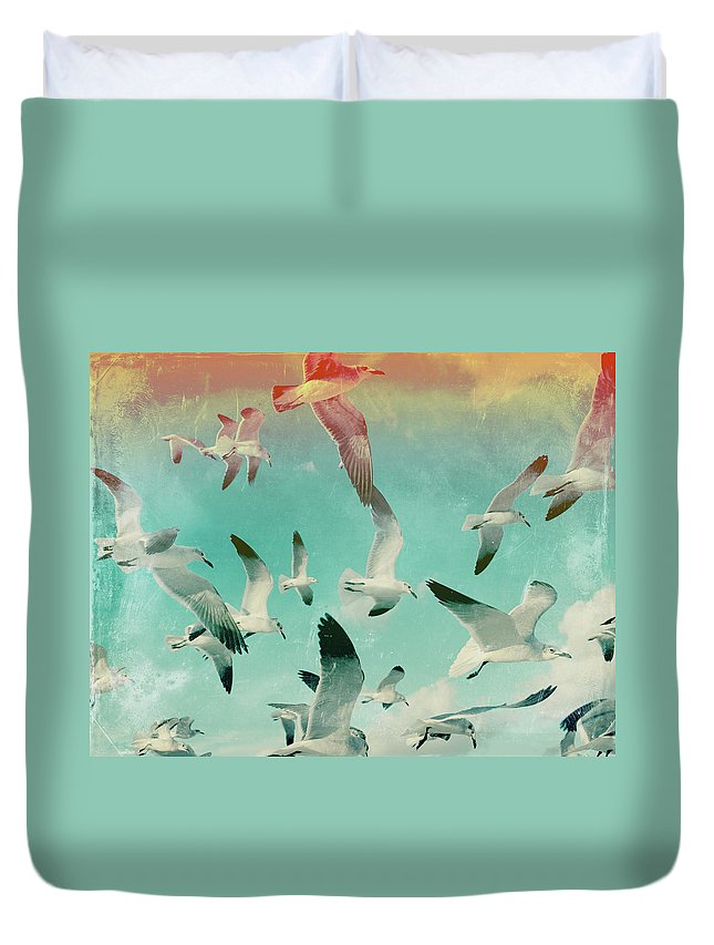 Animal Themes Duvet Cover featuring the photograph Flock Of Seagulls, Miami Beach by Michael Sugrue