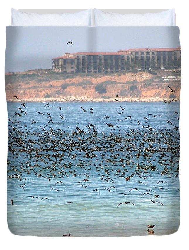 Flock Duvet Cover featuring the photograph Flocking At Terranea by Toula Mavridou-Messer