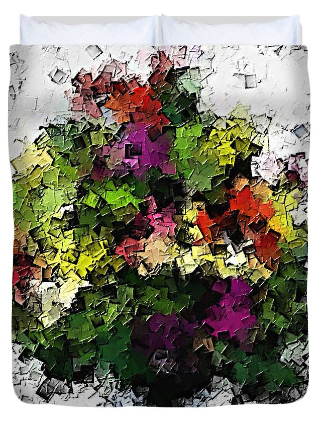 Abstract Duvet Cover featuring the painting Floral A3 by Sergio B