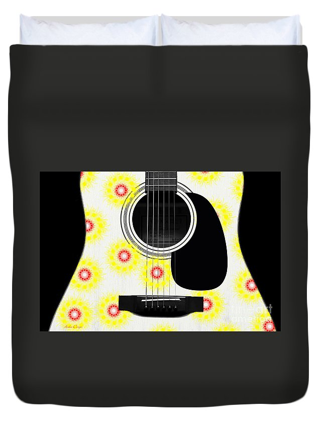 Abstract Duvet Cover featuring the digital art Floral Abstract Guitar 22 by Andee Design