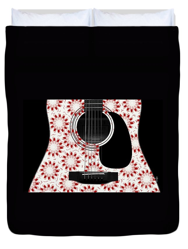Abstract Duvet Cover featuring the digital art Floral Abstract Guitar 24 by Andee Design