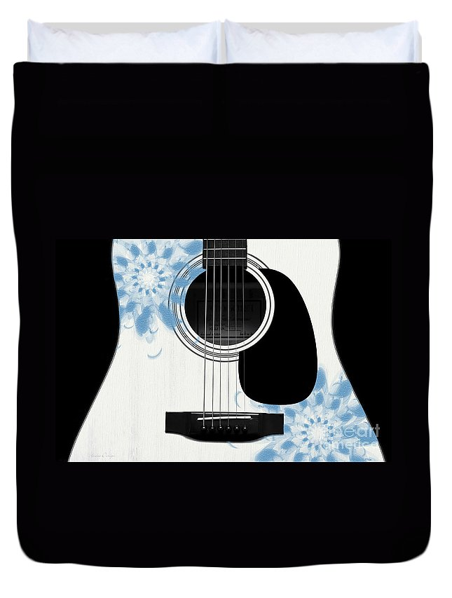 Abstract Duvet Cover featuring the digital art Floral Abstract Guitar 25 by Andee Design