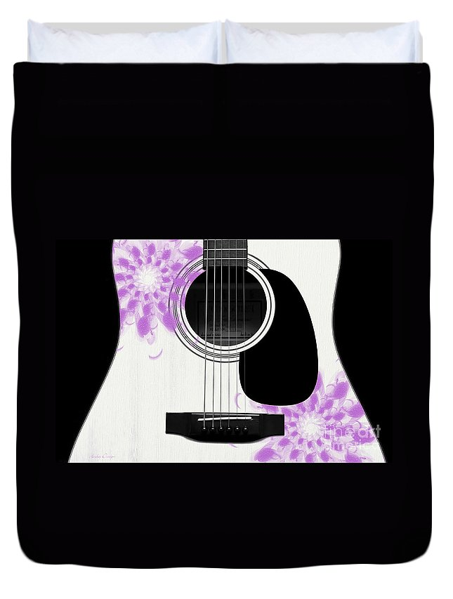 Abstract Duvet Cover featuring the digital art Floral Abstract Guitar 26 by Andee Design