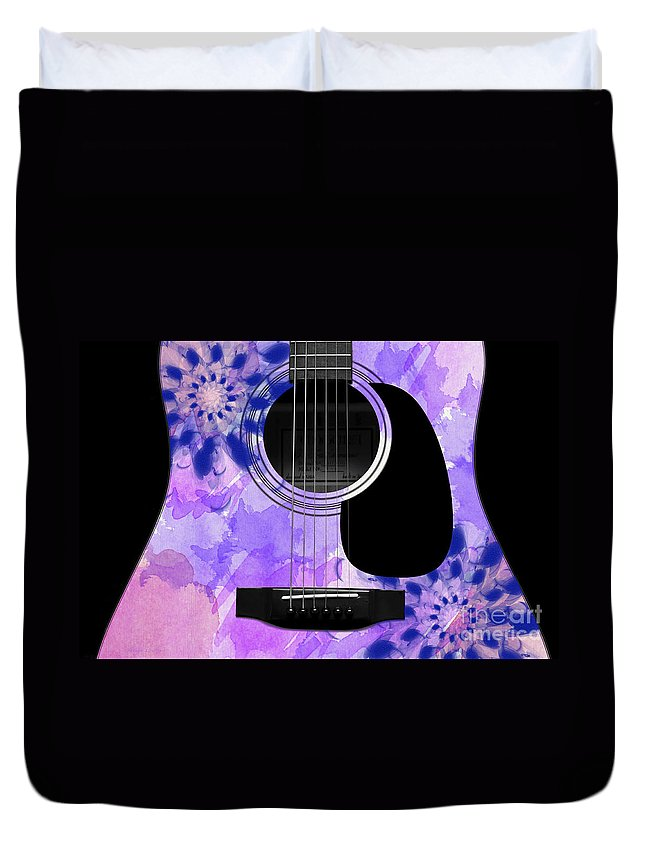 Abstract Duvet Cover featuring the digital art Floral Abstract Guitar 27 by Andee Design