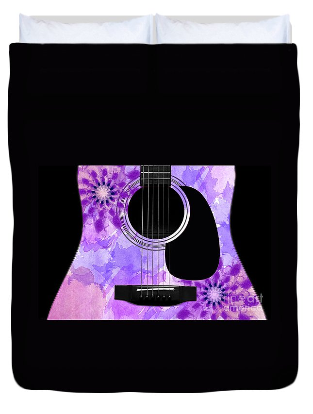 Abstract Duvet Cover featuring the digital art Floral Abstract Guitar 29 by Andee Design