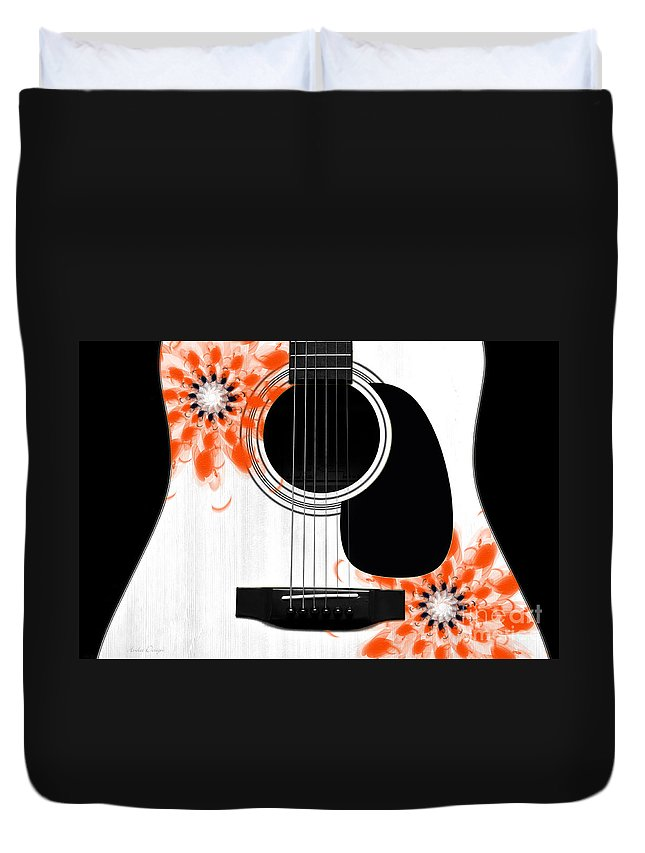 Abstract Duvet Cover featuring the digital art Floral Abstract Guitar 32 by Andee Design