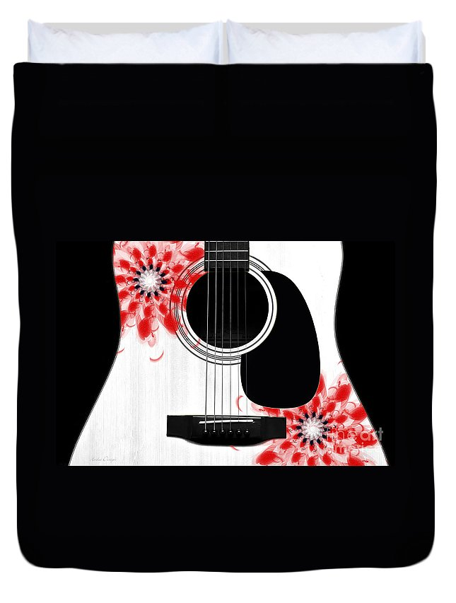 Abstract Duvet Cover featuring the digital art Floral Abstract Guitar 33 by Andee Design