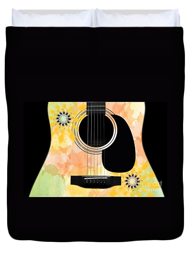 Abstract Duvet Cover featuring the digital art Floral Abstract Guitar 37 by Andee Design
