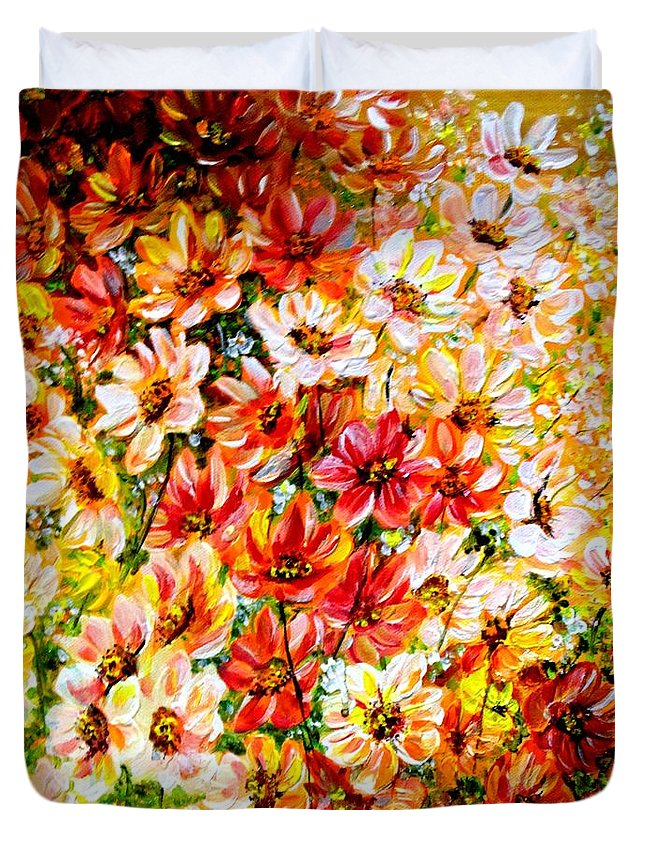 Abstract Daises Duvet Cover featuring the painting Floral Abstract by Karin Dawn Kelshall- Best