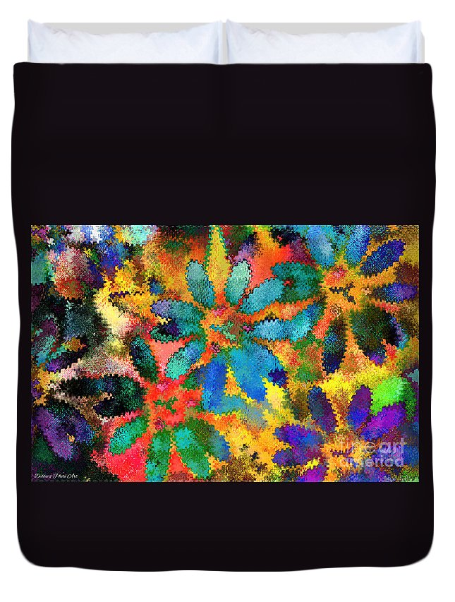 Abstract Duvet Cover featuring the mixed media Floral Abstract Photoart by Debbie Portwood