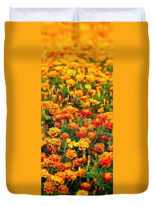 Bloom Duvet Cover featuring the photograph Floral Carpet by Tomasz Dziubinski