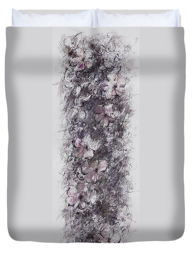 Floral Duvet Cover featuring the painting floral cascade II by William Russell Nowicki
