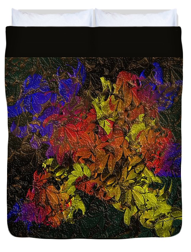 Floral Duvet Cover featuring the digital art Floral Explosion by Michael Hurwitz