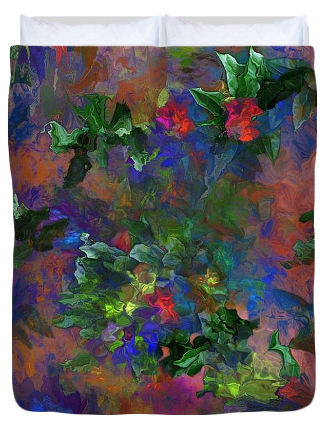 Fine Art Duvet Cover featuring the digital art Floral Fantasy 010413 by David Lane