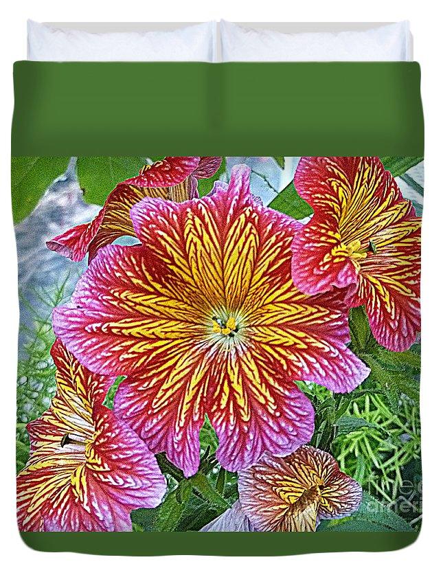 Pollen Duvet Cover featuring the photograph Floral Fireworks by Lingfai Leung