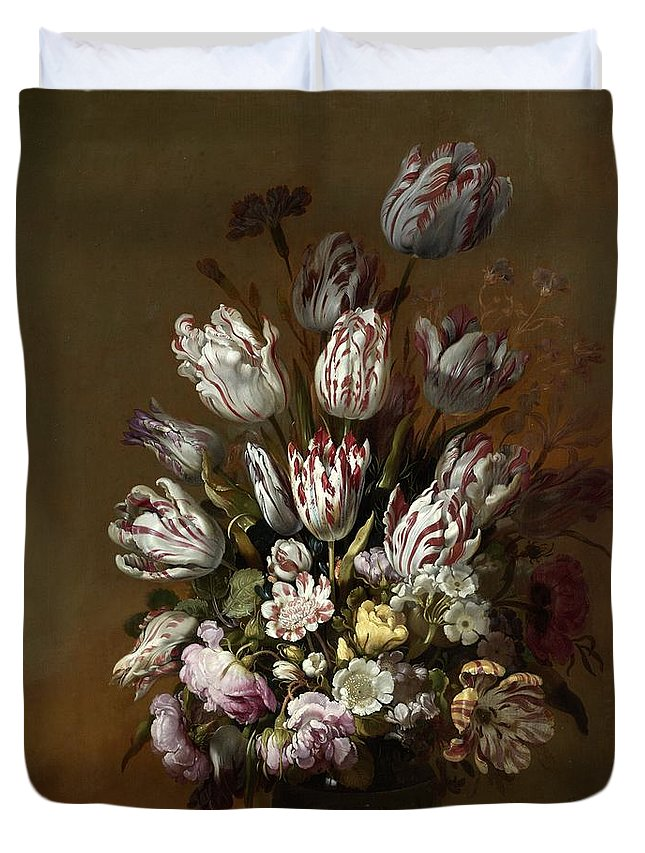 Bollongier Duvet Cover featuring the painting Floral Still Life by Hans Bollongier