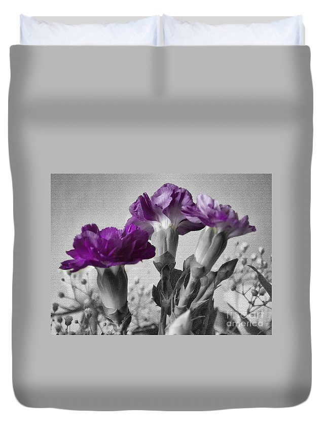 Purple Duvet Cover featuring the photograph Floral Texture by Rob Hawkins