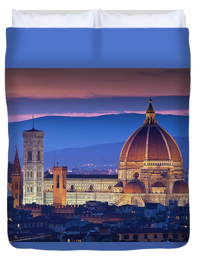 Built Structure Duvet Cover featuring the photograph Florence Catherdral Duomo And City From by Richard I'anson