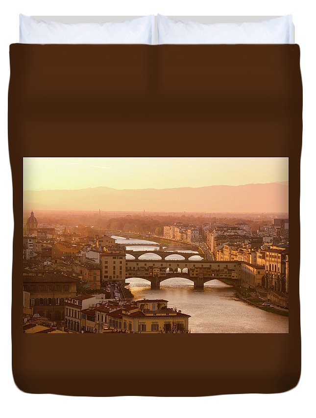 Campanile Duvet Cover featuring the photograph Florence City During Golden Sunset by Dragos Cosmin Photos