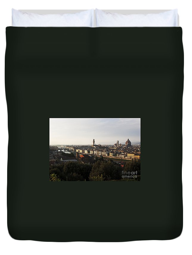 Florence Duvet Cover featuring the photograph Florence Form The Piazza Michalengelo by Belinda Greb