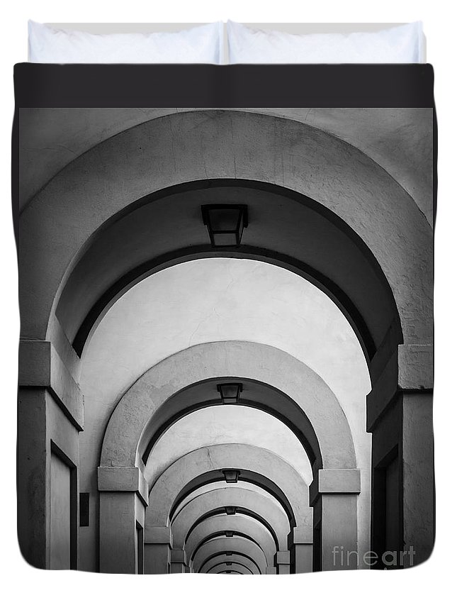 B&w Duvet Cover featuring the photograph Florence Hallway by Inge Johnsson