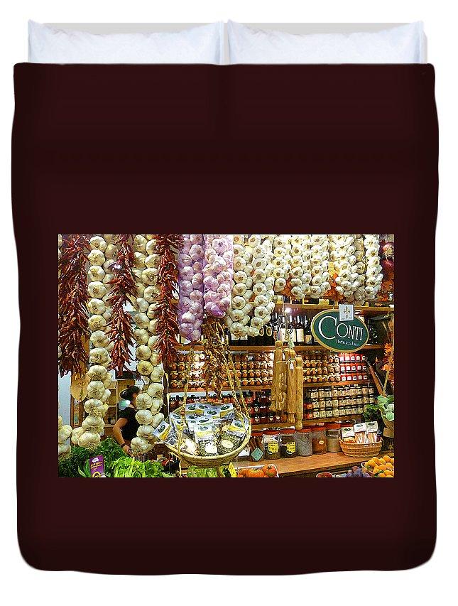 Market Duvet Cover featuring the photograph Florence Market by Irina Sztukowski