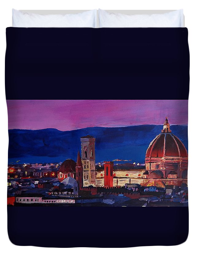 Florence Duvet Cover featuring the painting Florence Skyline Italy With Santa Maria Del Fiore by M Bleichner